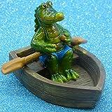 Pommerntraum ® | Schwimmtier Krokodil im Ruderboot Schwimmfigur Teichdeko Teichfigur Gartendeko Schwimmkrokodil Dekofigur Gartenteich SwimmingPool Aquarium
