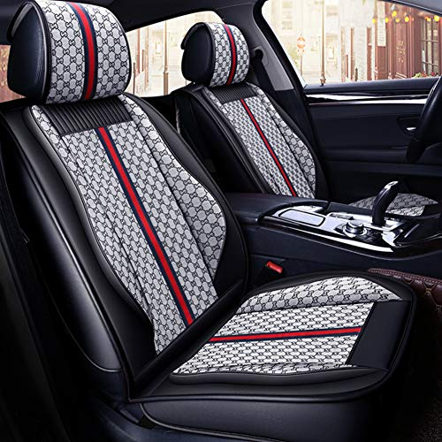 West Leathers Leather Car Seat Covers, Faux Leatherette Automotive Vehicle Cushion Cover for Cars SUV Pick-up Truck Universal Fit Set for Auto Interior Accessories (Grey, Full Set)