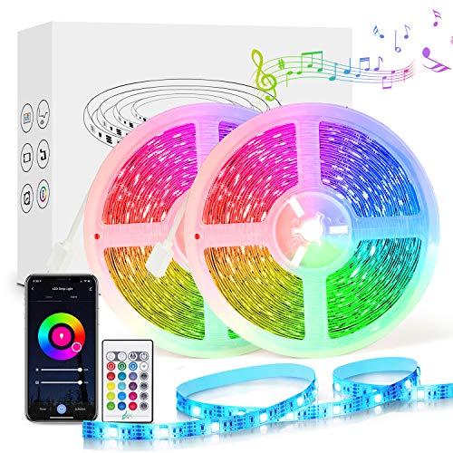 Alexa LED Strip 10M, Etersky Wlan Smart LED Streifen Sync mit Musik, RGB led WiFi Lichtband Lichterkette mit Fernbedienung für Haus, Küche, Party, TV, Kompatibel mit Alexa, Google Home (NUR 2.4GHz)