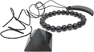 Karelian Heritage Authentic Shungite Stone Pendant and Black Crystal Pyramid Protection Set