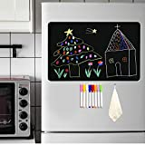 Magnetic Blackboard for Fridge Dry Erase Board A3 Size 17'x12' with 8 Liquid Chalk Makers and Eraser Cleaning Cloth Magnetic Chalkboard for Fridge Kitchen Home Office School Planning Board A3 Set