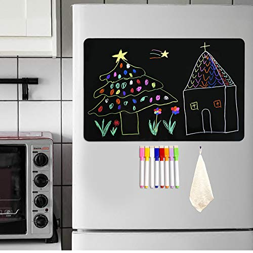"""Magnetic Blackboard for Fridge Dry Erase Board A3 Size 17""""x12"""" with 8 Liquid Chalk Makers and Eraser Cleaning Cloth Magnetic Chalkboard for Fridge Kitchen Home Office School Planning Board A3 Set"""