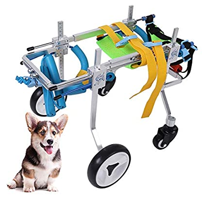 Pssopp Dog Wheelchair Aluminum alloy Pet Wheelchair Four Wheels Full Support Pet Rehabilitation Wheelchair Pet Wheelchair Cart for Hind Leg Recovery Handicapped Dog (XS Widen) 7