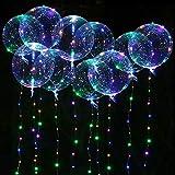 Seamuing LED Bobo Balloon Palloncini, 10 Pezzi Palloncini LED Rotondi con Striscia LED da 3 M Trasparente Palloncini a Bolle per Matrimoni, Feste di Compleanno (20 Pollici/Colorati)