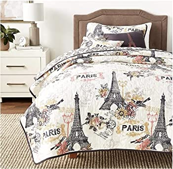 Avondale Manor Cherie 4pc Parisian Reversible Quilt with Throw Pillows Bedding Set Twin Coral