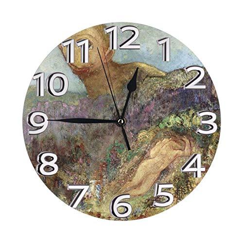 The Cyclops Horloge Murale Mode Peinture Forme Ronde Réveil Stumm Montres Digital Clock Type de Batterie 25cm de diamètre