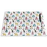 Tcerlcir Set di 6 Tovagliette Piccola Scala in Amore Greyhounds Sfondo Bianco Lavabile Antiscivolo Resistente al Calore per la Cucina e la tavola 45x30cm