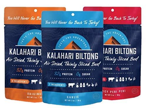 Variety Pack Kalahari Biltong, Air-Dried Thinly Sliced Beef, 2oz (Pack of 3), Sugar Free, Gluten Free, Keto & Paleo, High Protein Snack