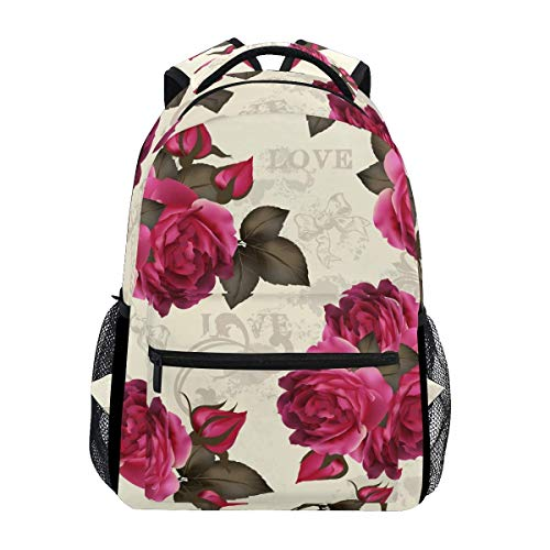 poiuytrew Vintage Roses Backpack Students Shoulder Bags Travel Bag College School Backpacks