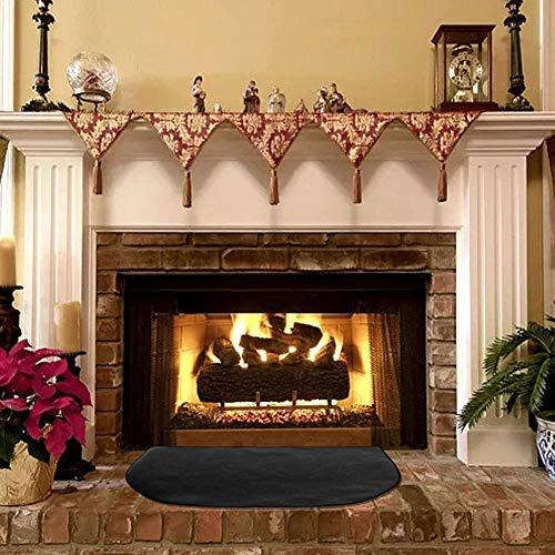 Urhause Feuerhemmender Glasfaserteppich, feuerfeste Herdteppiche Teppichboden für den Innenbereich, Schwarze feuerfeste Matte für Kamin und Kohlenbecken
