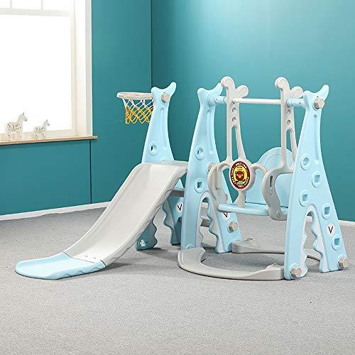 FZTX-LPX Kinder rutschen Indoor-Heimspielplatz DREI-in-Eins-Kindergarten Outdoor Baby Rutsche Schaukel Kombinationsspiel,Blau