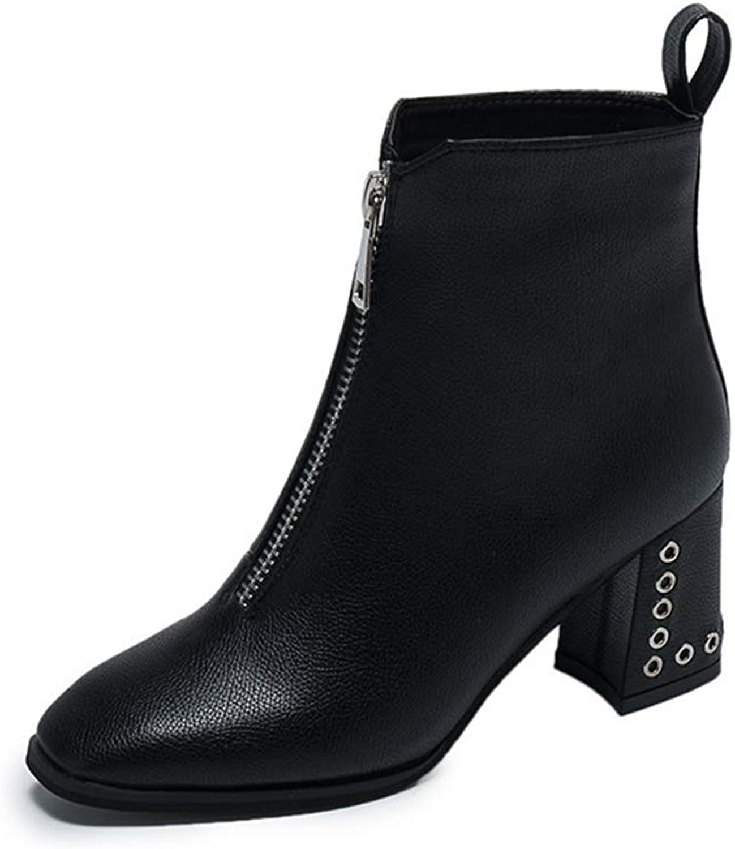Women's Fashion Square Toe Block Crude Heel Ankle Boots Upper Zipper Martin Boots Autumn Winter