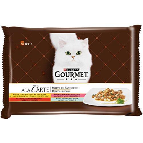 PURINA GOURMET A la Carte - cibo umido per gatti, diversi tipi, confezione da 12 (12 x 4 sacchetti da 85 g)