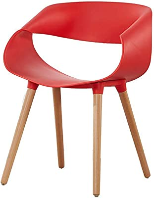 Dining Chair, Negotiation Table and Chair Solid Wood Plastic Backrest Armchair, Comfortable Sitting,Red