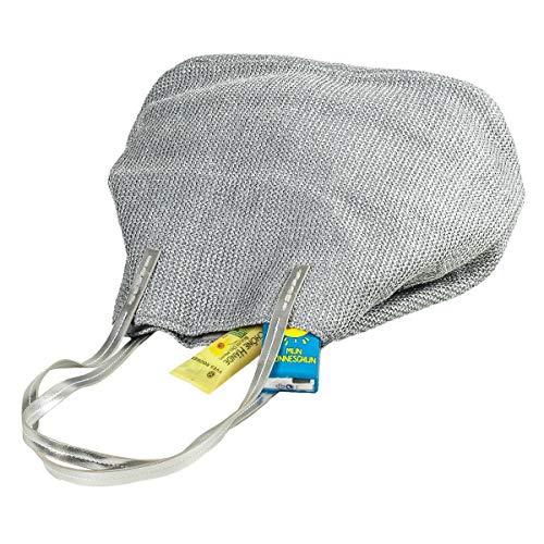 LaFiore24 Einkaufstasche Damen Shopper Glitzer-Effekt Grosse Strandtasche Badetasche Schultertasche Silber