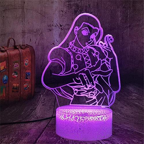 Lámpara de mesa con interruptor táctil 3D de Hunter×Hunter con control táctil de 16 colores con USB para decoración de fiestas, lámpara visual 3D para decoración del hogar, Navidad