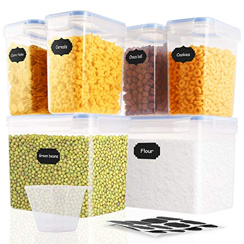 Cereal Container Storage Set - Airtight Food Storage Container 6 Pack, Cereal Containers with Lids,BPA Free Cereal Containers, Keep Food Fresh, Dry and Organized for Cereals, Oats, Flour, Cheerios