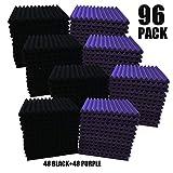 96 Pack purple/BLACK Acoustic Foam Panel Wedge Studio Soundproofing Wall Tiles 12' X 12' X 1'