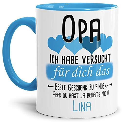 Tassendruck Geschenk Tasse mit Spruch PERSONALISIERT Opa von Enkelkind - Kaffee-Tasse/Geschenkidee Geburtstag Vatertag/Vatertagsgeschenk - Innen & Henkel Hellblau