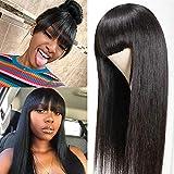 BLISSHAIR Echthaar Perücke mit Pony, Straight Human Hair Wigs with Bangs Echthaarperücken für Frauen Brasilianisches Virgin Remy Haar 130% Dichte Gerade Wig(20', 50cm)