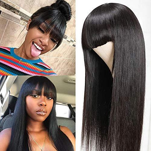 """BLISSHAIR Echthaar Perücke mit Pony, Straight Human Hair Wigs with Bangs Echthaarperücken für Frauen Brasilianisches Virgin Remy Haar 130% Dichte Gerade Wig(12"""", 30cm)"""
