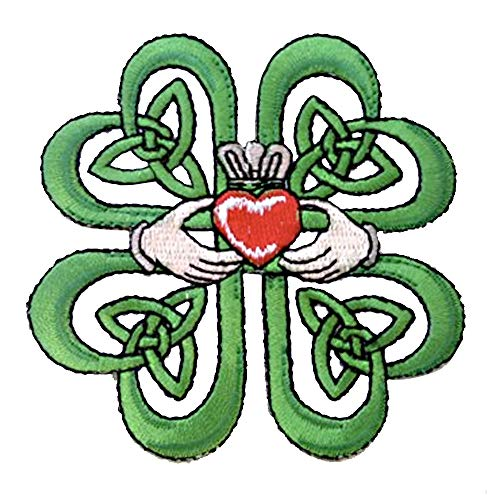 Irish Claddagh Ring w/Celtic Weave & Lucky Four Leaf Clover Iron On Patch Applique