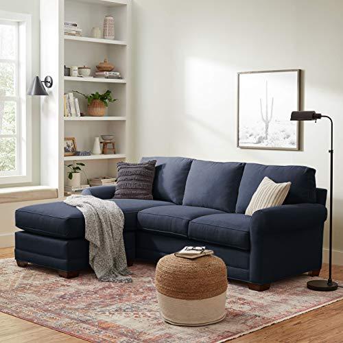 """Amazon Brand – Stone & Beam Kristin Sofa Chaise, 96.5""""W, Indigo"""
