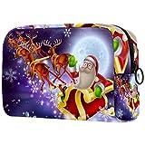 Bolsa de cosméticos para mujer, trineo de Papá Noel, bolsas de maquillaje, accesorios organizador de regalos