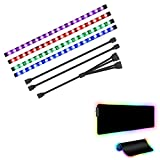 Speclux RGB Soft Gaming Mouse Pad Large, 31.5X 11.8in,and PC RGB LED Strip, Computer LED Strip Lights for Motherboard with 12V 4Pin RGB Header, PC Case DIY Lighting