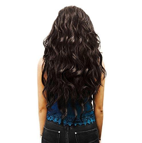 Haarextension braun Haarverlängerung Clip In Extensions Set 7 Haarteile 60 cm gelockt hitzebeständig
