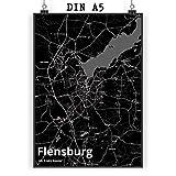 Mr. & Mrs. Panda Poster DIN A5 Stadt Flensburg Stadt Black