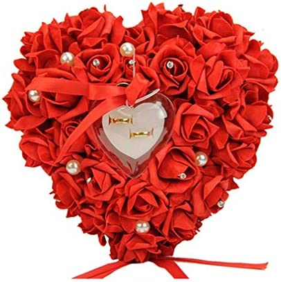 SoundsBeauty Romantic Rose Ribbon Heart Shaped Ring Box Wedding Gift Jewelry Ring Pillow Red product image
