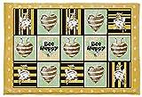 Zerbino a forma di cuore, con strisce gialle e nere, morbido e assorbente all'acqua, con margherite bianche, antiscivolo, per camera da letto, soggiorno, bagno, 40 x 70 cm