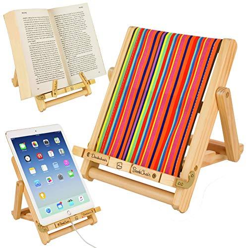 Atril, Soporte de lectura - para libro, tablet, iPad, eReader – regalo para lectores modelo silla del director blanca