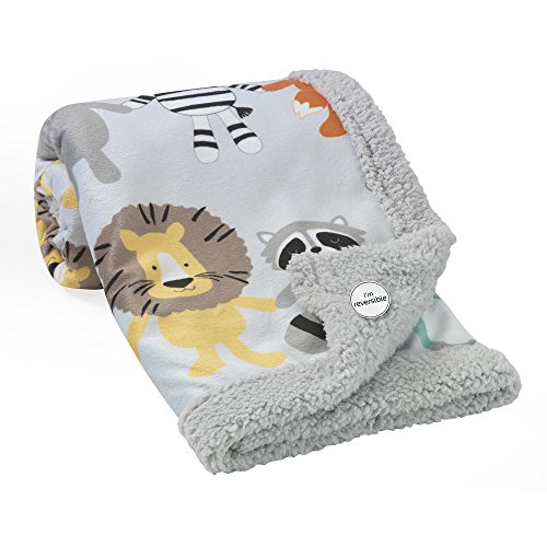 Lambs & Ivy Two of A Kind Multi Animals Blanket, Gray