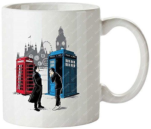 Cabins Collide Doctor Who David Tennant Benedict Cumberbatch Sherlock Sherlock Holmes Mashup Tazas de café personalizadas Taza de té de Hot Joye 11oz