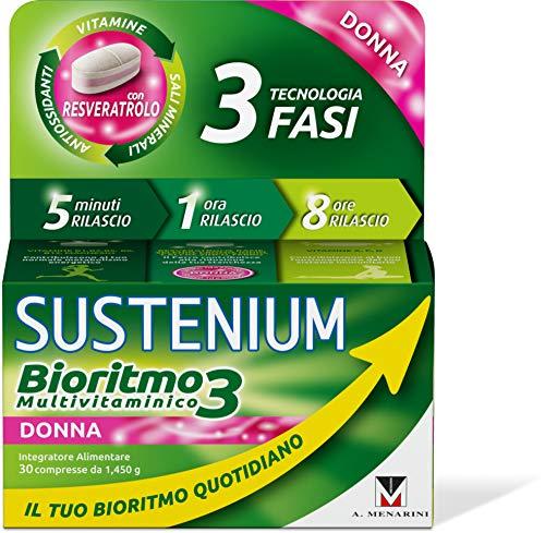 Sustenium Bioritmo3 Donna - Integratore Multivitaminico con Antiossidanti e Sali Minerali. Più di 70 Benefici per il Tuo Benessere Fisico e Mentale, 30 Compresse da 1.45 Gr