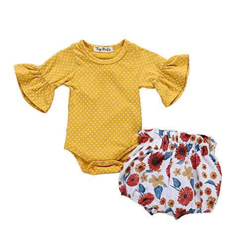 Challeng_Children Toddler Kids Clothes, Tenues BéBé Fille Nouveau-NéS Dot Romper Jumpsuit + Floral Shorts Pants Set, 2019 Nouveaux VêTements pour Enfants 0-3 Ans Moitié GarçOn Costume 2 PièCe Printe