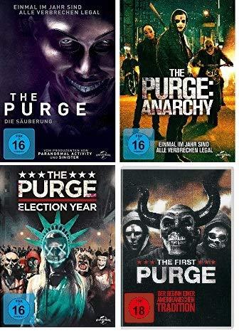 The Purge - Teil 1 + 2 + 3 +4 ( die Säuberung + Anarchy + Election Year + The First Purge) im Set - Deutsche Originalware [4 DVDs]