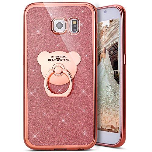 Kompatibel mit Galaxy S6 Edge Hülle,Galaxy S6 Edge Handyhülle,[Bär Handy Ringhalter] Galaxy S6 Edge TPU Silikon Gel Bumper Case Handytasche Glänzend Glitzer Strass Schutzhülle Tasche,Rose Gold