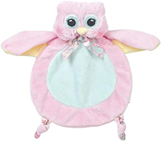 Bearington Baby Wee Lil' Hoots, Small Pink Owl Stuffed Animal Lovey Security Blanket, 8