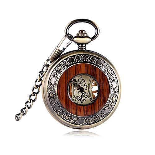 Vintage Pocket Horloge Neutraal Mechanische Pocket Horloge Roman Numeral Tafel Zakelijke Mode Houten Ronde Skeleton Ketting