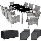 TecTake 800104 Aluminium Poly Rattan Essgruppe, 8 Stühle + 1 Esstisch mit Glasplatten, inkl. 2 Bezugssets und Schutzhülle - Diverse Farben (Hellgrau | Nr. 403752)