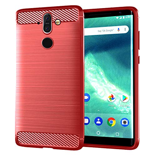 NEWZEROL per Nokia 8 Sirocco Case [Slim-Fit] [Anti-Scratch] [Shock Absorption] Rosso Gel Case TPU Soft Red Cover per Nokia 8 Sirocco - Rosso