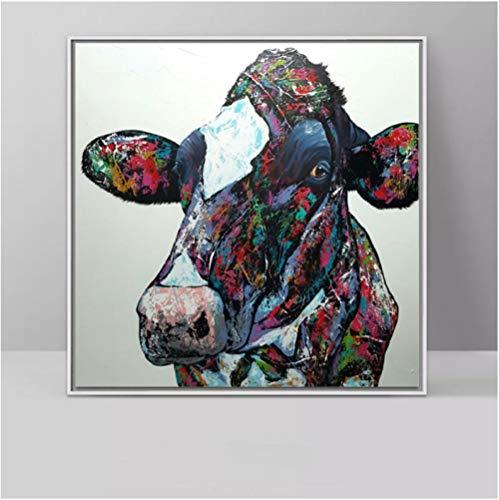 JWQING canvas schilderij met bonte koeien, canvas print, voor woonkamer, decoratie thuis, 60 x 60 cm (zonder lijst)
