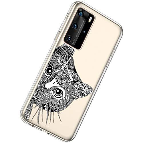 Herbests Kompatibel mit Huawei P40 Pro Hülle Silikon Weich TPU Handyhülle Durchsichtige Schutzhülle Niedlich Muster Transparent Ultradünn Kristall Klar Handyhülle,Schwarze Katze