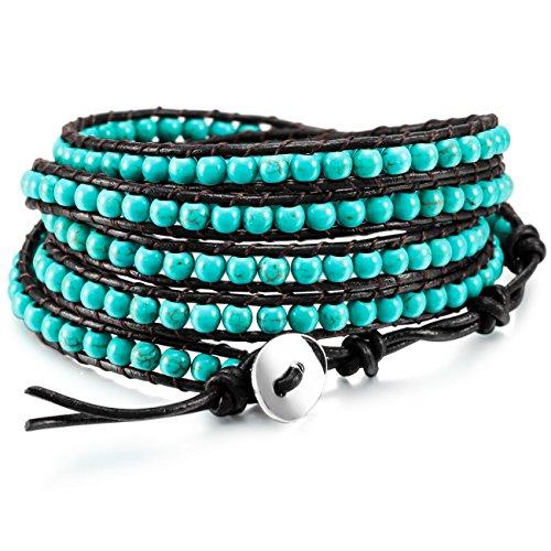 MOWOM Layered Bracelets for Women Men Boys Girls Genuine Leather Bracelet Rope Bangle Cuff Gemstone Beads Braided Bracelet 5 Wraps Adjustable Handmade Oriental Agate Meditation Jewelry Gift