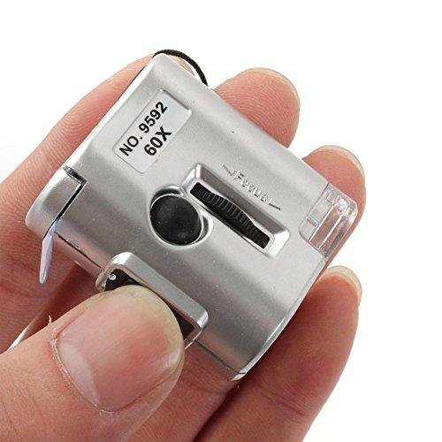 TOOGOO(R) Loupe LED 60X microscopio gioielliere Loupe Lente d'Ingrandimento Luminosa Vetro UV