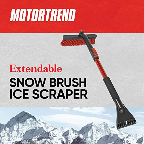 Motor Trend Winter Car Snow Brush/Broom with Soft Ergonomic Foam Grip, Extendable Handle and Rotating Head - Ice Scraper/Frost Remover for Car Windshields, Roofs, Windows, and Mirrors