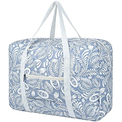 Bolsa de viaje Packable Bolsa de viaje Bolsa de viaje para llevar en el equipaje de fin de semana durante la noche deporte Duffle para niños niñas y mujeres (1112-Blue Leaf)